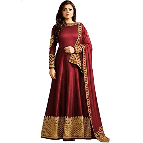 bedbef85b MONIKA SILK MILL Women s Georgette Heavy Embroidered Anarkali Salwar Suit  Semi-Stitched Fabric (MSM LTN104