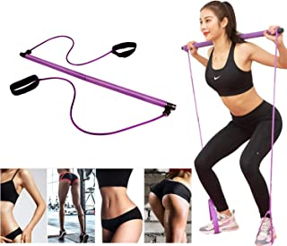 Lucky Star Exercise Resistance Band Yoga Pilates Bar Kit Portable Pilates Stick Muscle Toning Bar Home Gym Pilates with Fo...