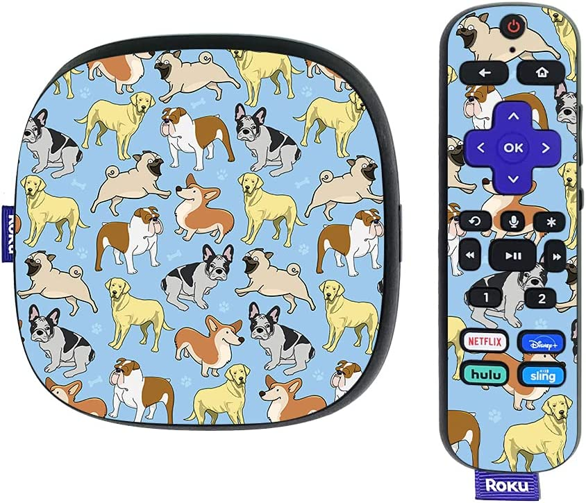 MightySkins Skin Compatible with Roku Ultra HDR 4K Streaming Media Player (2020) - Puppy Party   Protective, Durable, and Unique Vinyl Decal wrap Cover   Easy to Apply   Made in The USA