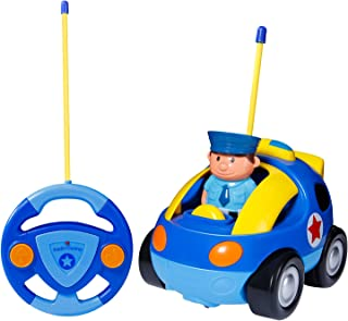SGILE RC Cartoon Car Toy with Lights Music Radio for Toddlers Baby Kids, Blue