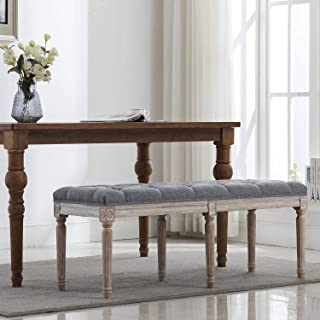 Fabric Upholstered Dining Bench - Classic Entryway Ottoman Bench Bedroom Bench with Rustic Wood Legs - Gray