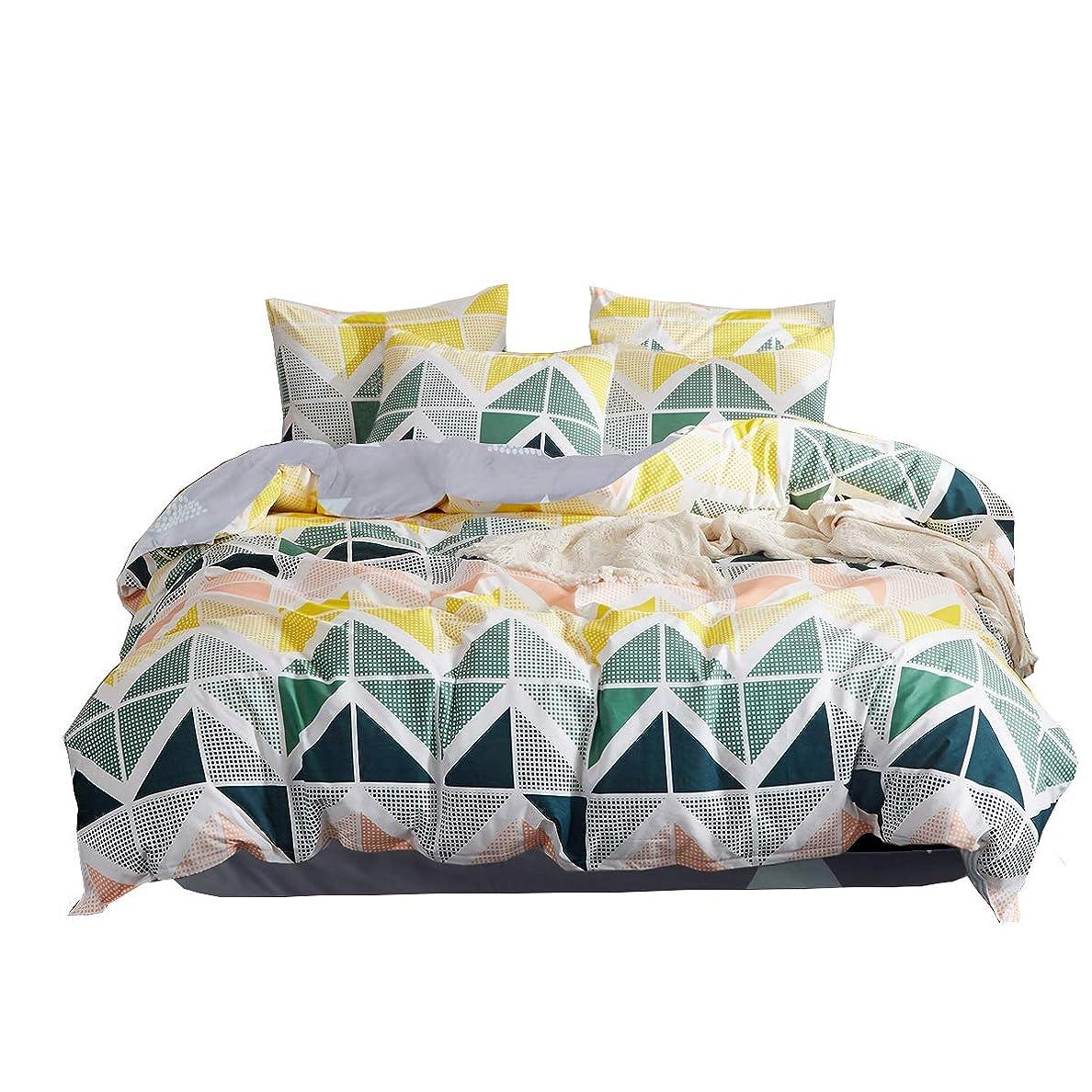 プリーツ潤滑するカビHanacat 布団カバー セミダブル 4点セット 掛け布団カバー ボックスシーツ 枕カバー 洋式 ベッド用 幾何柄 カラフル