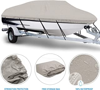 NORTHCAPTAIN 100% Waterproof Boat Cover,Heavy Duty 600D Polyester Trailerable Boat Cover, Fits V-Hull Tri-Hull Runabout from 16 feet to 22 feet