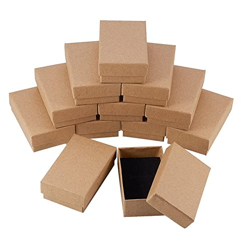 387c50a14d3 NBEADS 24 Pcs Small Kraft Brown Cardboard Boxes Jewelry Box with Lids for  Necklace Ring Gifts