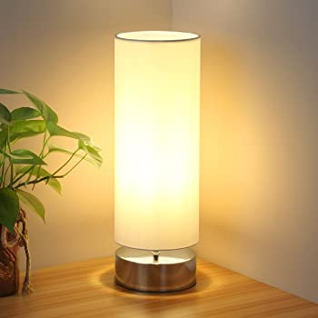 Touch Control Table Lamp Bedside Minimalist Desk Lamp Modern Accent Lamp Dimmable Touch Light With Cylinder Lamp Shade Night Light Nightstand Lamp For Bedroom Living Room Kitchen E26 Bulb Included
