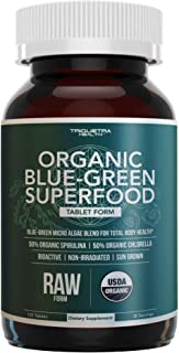 Organic Spirulina & Chlorella Tablets - 4 Organic Certifications, Raw, Non-Irradiated - 50/50 Blue Green Algae Blend - Antioxidant Content Equal to 5 Servings of Vegetables (120 Tablets)