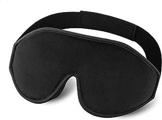 TechRise Sleep Mask for Women Men, 3D Contoured Eye Mask for Sleeping, Ultra Soft Breathable Sleeping Eye Mask with Ear Plug Travel Pouch, Eye Shade Cover for Travel, Naps Black (Black)
