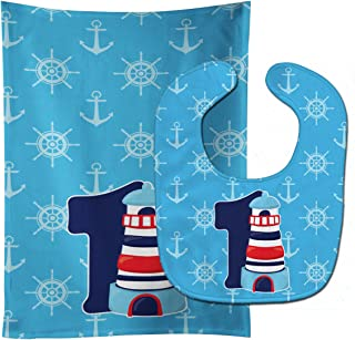 Caroline's Treasures Nautical Month 1 Baby Bib & Burp Cloth, Multicolor, Large