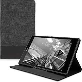 kwmobile Case Compatible with Sony Xperia Tablet Z3 Compact - PU Leather and Canvas Cover with Stand Feature - Anthracite/...