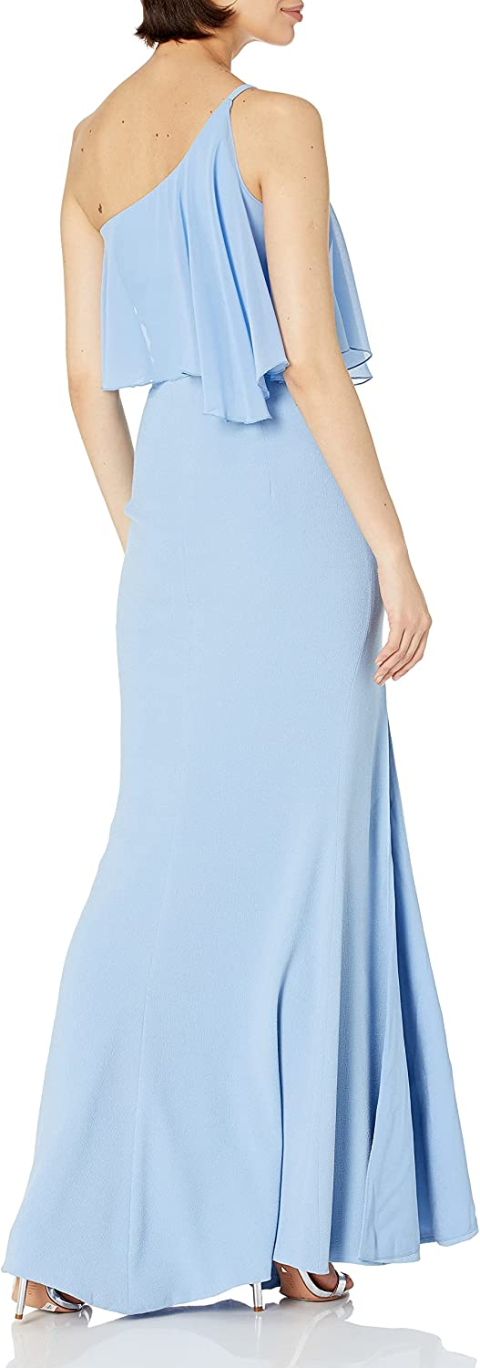 Dress the Population Women's Faith One Cold Shoulder Flounce Gown with Slit, Ice Blue, l