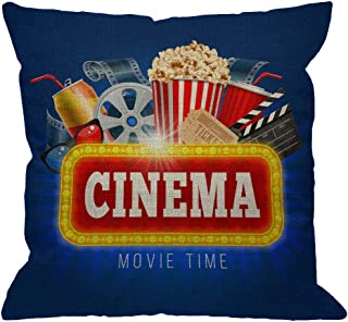 HGOD DESIGNS Cinema Movie Time Throw Pillow Cover,Popcorn Drink Clapping Board and Other Objects On Cinematograph Decorative Pillow Cases Cotton Linen Cushion Covers for Home Sofa Couch 18x18 inch