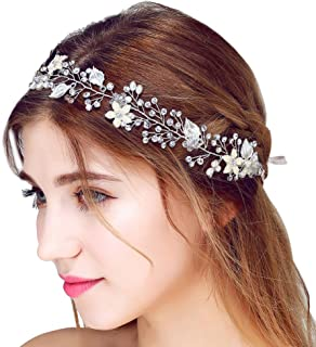 Wedding Bridal Headband, Moraner Women Delicate Crystal Rhinestone Headpiece Handmade Bride Tiara (Silver)