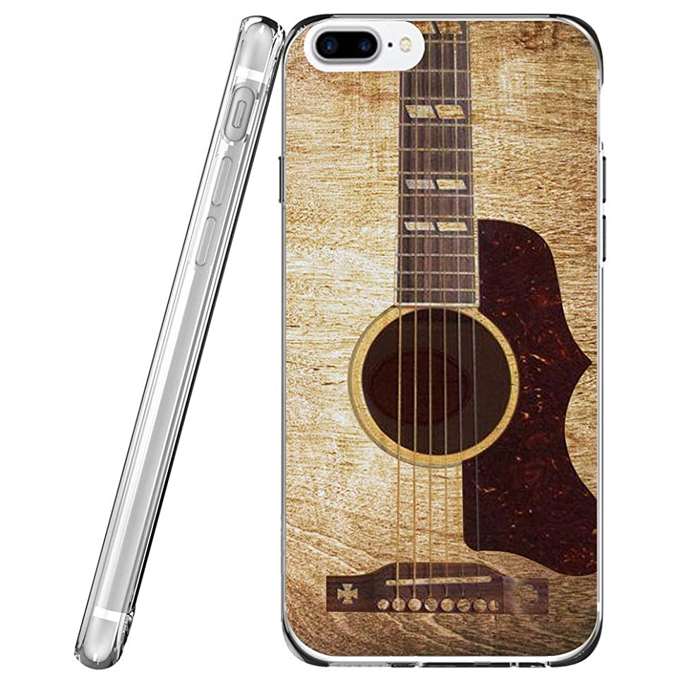 Case for Phone 8 Plus Guitar & Protector for Phone 7 Plus & MUQR Flexible Gel Silicone Slim Drop Proof Protection Cover Compatible with iPhone 7/8 Plus & Vintage Guitar Music Theme