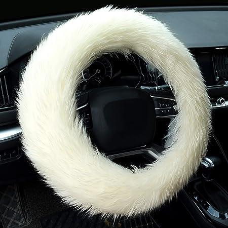 Beige Winter Warm Soft Fur Fuzzy Steering Wheel Covers for Women//Girls 15 Inch Universal Valleycomfy 3Pcs Fluffy Steering Wheel Cover Set