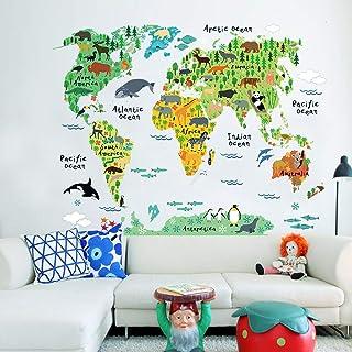 Aboodah Wall Stickers,Large Kids Educational Animal Landmarks World Map Peel & Stick Wall Decals Stickers Home Decor Art f...