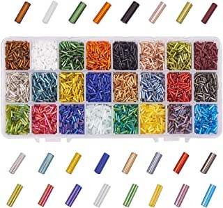 PandaHall Elite 8400 Pcs 24 Colors Beading Glass Bugle Seed Beads Silver Lined Tube Spacer Bead Length 6mm for Earring Jewelry Making