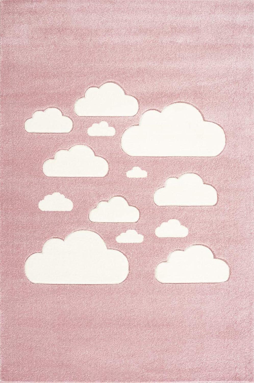 Livone Kinderzimmer Baby Teppich Kinderteppich Hochwertig mit Wolken in Rosa Rosa Rosa Weiss mit Konturenschnitt Größe 120 x 170 cm B07JL1DRNZ a60430