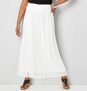 89250f34b9 Avenue Women's White Crochet Trim Maxi Skirt