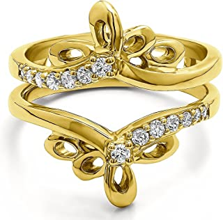 TwoBirch 0.3 Ct. Bow Shaped Chevron Ring Guard with Diamonds (G,I2) in 10k Gold