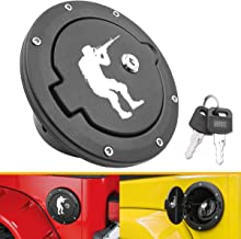 Gas Cap Fuel Fuel Filler Door for Jeep TJ TJU - Fits for Wrangler 1997-2006 TJ TJU Gas Cover - Black Fuel Filler Door Cover (Soldier with Rifle)