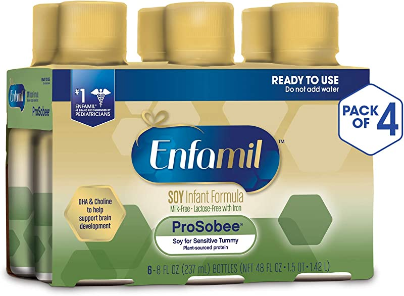 Enfamil ProSobee Soy Sensitive Baby Formula Dairy Free Lactose Free Plant Protein Milk Powder 8 Fluid Ounce 24 Count Omega 3 DHA Iron Immune Brain Support