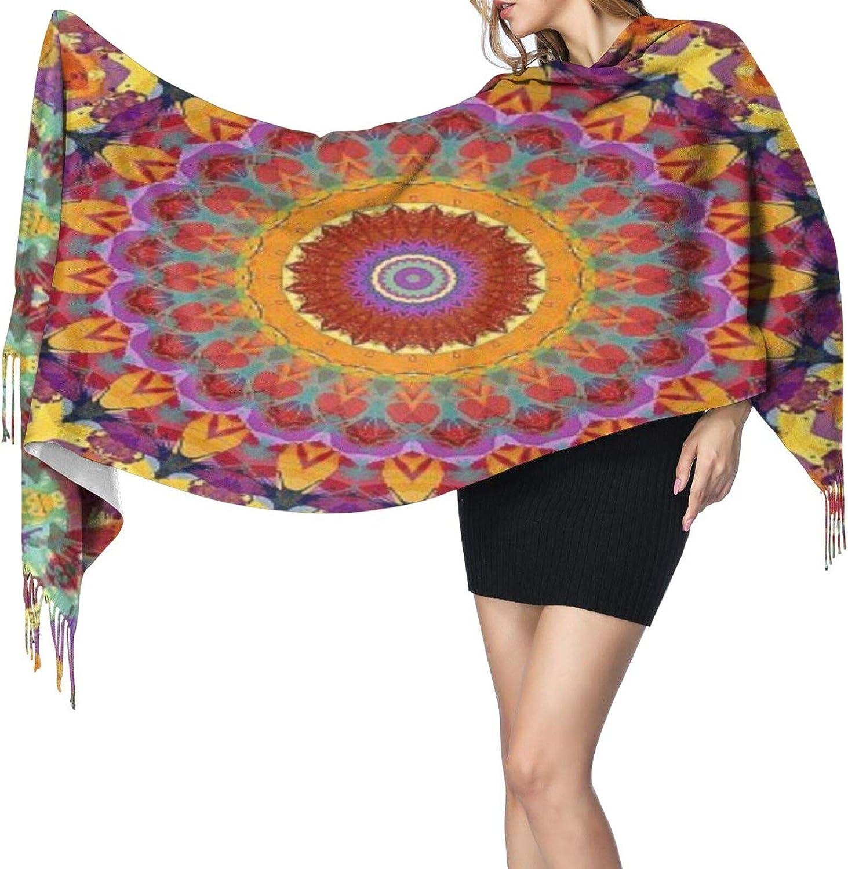 Cashmere fringed scarf fractal mandala winter extra large scarf
