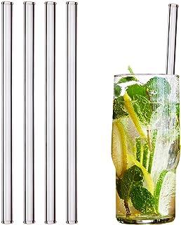 HALM Glas Strohhalme Wiederverwendbar Trinkhalm - 4 Stück gerade 20 cm  plastikfreie Reinigungsbürste - Spülmaschinenfest - Nachhaltig - Glastrinkhalme Glasstrohhalme für Long-Drinks, Smoothies, Saft