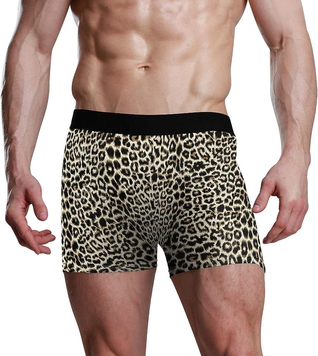 Mens Underwear Briefs Unique Leopard Print Breathable Long Boxer Briefs Underwear Boys