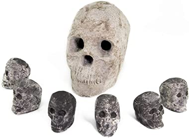 Ceramic Fireproof Skulls Bundle for Indoor and Outdoor Fire Pits and Fireplaces | 1 Full Size Ceramic Skull and 6 Mini Skulls | Natural Gray Color