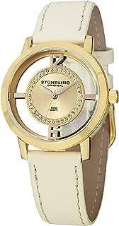 Stuhrling Original Women's 388L2.SET.02 Winchester Tiara Analog Swiss Quartz Champagne Leather Watch with Interchangeable Black Band