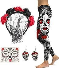 Lace Veil Rose Flower Headband with High Waist Skull Earring Yoga Leggings Pant