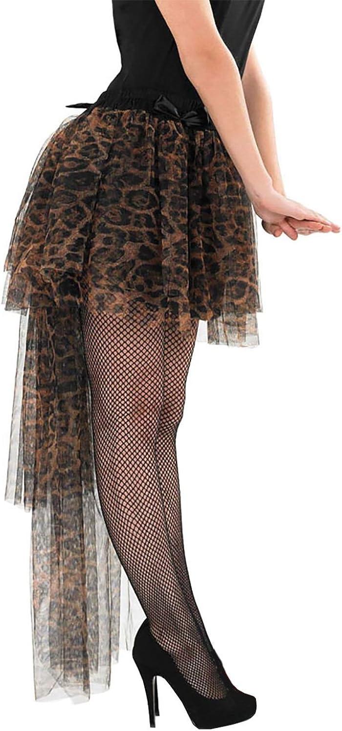 Rimi Hanger Womens Leopard Print Long Tailed Tutu Skirt Ladies Fancy Dress Parties Skirt One Size