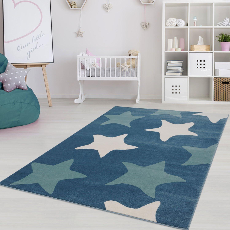 Kinderteppich Jugendteppich mit Pastellfarben, Modernes Sternen-Motiv für Kinder-  Jugendzimmer in Pastellblau Größe 200 290 cm B01MPZI8SY