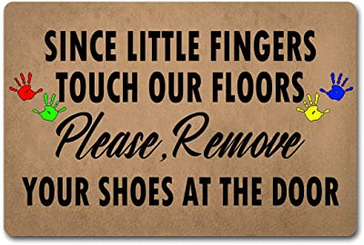 """Funny Welcome Mat with Rubber Back 23.7""""(L) x 15.9""""(W) Since Little Finger Touch Our Floors Door Mat Funny Doormat with Saying for Entrance Way Indoor Decor Mats for Front Porch Mats Novelty Gift"""