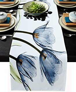 T&H XHome Dining Table Runner Dresser Scarf Linen Burlap Fabric,Blue Romantic Tulip Flowers Florals Washable Table Runners...