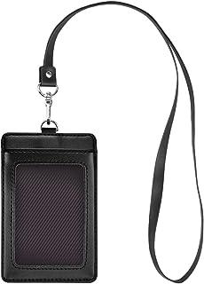 Fushing Carte d'identité verticale en cuir véritable étiquette de nom protecteur porte-badge avec lanière à col pour un év...