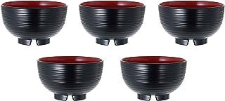 正和(Showa) 汁椀 黒/赤など 約径11.5×高6.8cm 山中塗 レンジ・食洗機対応汁椀(千筋・5個組)