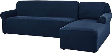 CHUN YI Jacquard Housse de Canapé d'angle Convertible Tissu Polyester Extensible (Droite-2 Places, Bleu foncé)