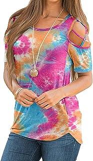 زهرة الطباعة strappy س الرقبة تي شيرت المرأة عارضة الكتف الباردة فضفاض الصيف قمم قصيرة الأكمام تيز (Color : D, Size : L)