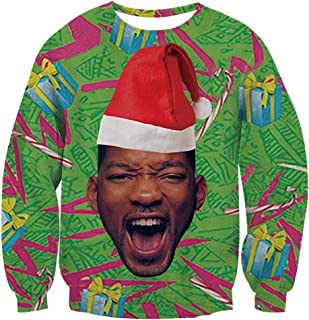 Unisex Ugly Christmas Sweaters Jumpers 3D Funny Graphic Pullover Sweatshirt for Xmas Party