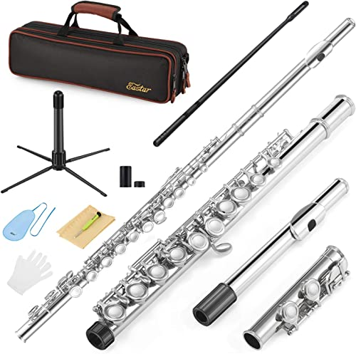 Eastar EFL-1 Closed Hole C Flutes 16 Key Nickel Beginner Student Kids Flute Musical Instrument With Carrying Case Sta...