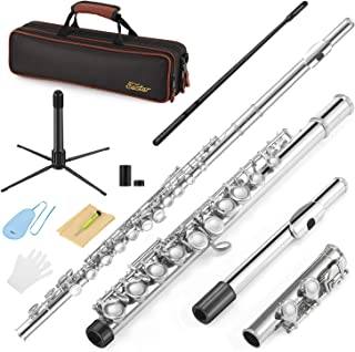 Eastar C Flutes Closed Hole C Flute Musical Instrument with Joint Grease,Cleaning Rod, Carrying Case, Stand, Gloves and Tuning Rod, 16 Key Student Flute Beginner Kids Flute, Nickel, EFL-1