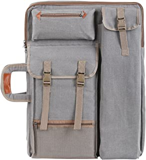 Tanchen 4K Canvas Artist Portfolio Carry Shoulder Bag Multifunctional Drawboard Bags for Drawing Sketching Painting (Gray)