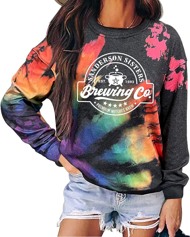 Sanderson Sisters Brewing Co Hocus Pocus Sweatshirt Women Funny Halloween Sweatshirt Teen Girls Cute Fall Pullover Tops