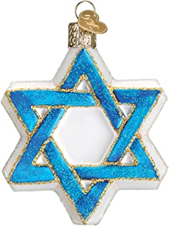 Old World Christmas Glass Blown Ornament with S-Hook and Gift Box, Religious Collection (Star of David)