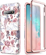 SURITCH Case for Galaxy S10 Plus [Built-in Screen Protector] Rose Gold Marble Full-Body Shockproof Protection Rugged Cover for Samsung Galaxy S10 Plus(Rose Marble)