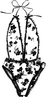 طقم ملابس داخلية مثيرة للنساء، رقبة على شكل حرف V ملابس داخلية صغيرة بيبي دول هالتر قميص دانتيل مثير ثونغ ثونغ تي سروال بي...