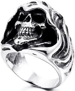 Mens Stainless Steel Ring Gothic Casted Grim Reaper Skull Black Silver