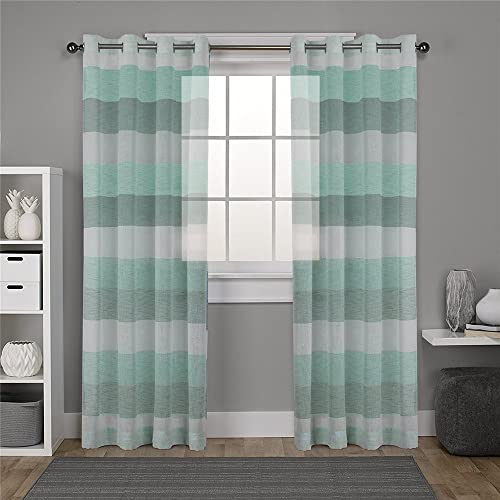 Teal And White Living Room Curtains Amazon Com