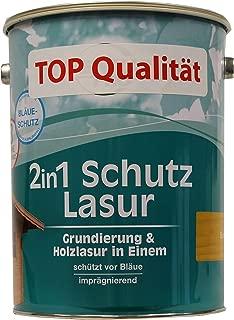 Genius 2 in 1 Schutz Lasur / Farbton Eiche / 5 L / Holzschutzlasur 2 in 1 , Grundierung u. Lasur in einem, Speziallasur v. Holzfachhandel mit hohem UV-Schutz